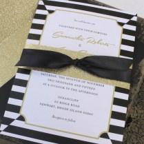 Elegant Black And Gold Wedding Invitation
