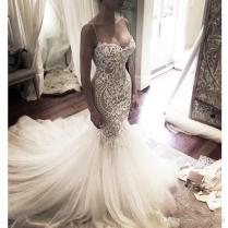 Gorgeous Mermaid Style Lace Appliques Tulle Wedding Dress