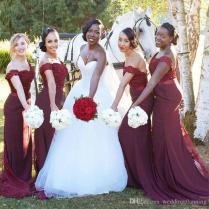 Hot Sale Burgundy South African Bridesmaid Dresses 2017 Mermaid