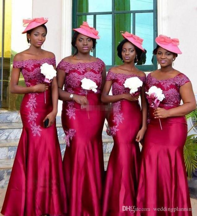 2017 South African Bridesmaid Dresses Plus Size Arabic Wedding