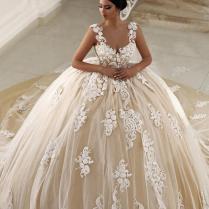2017 Champagne Saudi Arabia Ball Gown Wedding Dresses Spaghetti