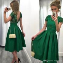2018 Emerald Green Wedding Guest Dress A Line Jewel Neck Illusion