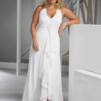 Beach Plus Size Wedding Dresses Cheap V Neck Halter Wedding Gown