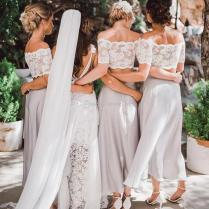 2018 Silver Tea Length Bridesmaids Dresses Off Shoulder Lace Top A