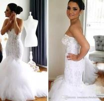 Real Image Mermaid Style Lace Mermaid Wedding Dresses Pearls Soft