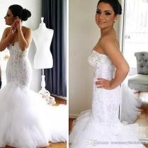 Real Image Mermaid Style Lace Mermaid Wedding Dresses Pearls Soft