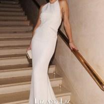 Rita Ora White Mermaid Chiffon Dress Bergdorf Goodman's 111th