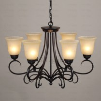 Rustic Iron Chandelier Household 6 Light Glass Shade Twig Black