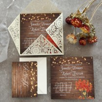 Rustic Stringlights Maple Leaf Laser Cut Wedding Invitations With