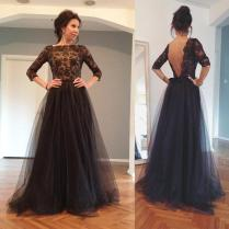 Sexy 2018 Backless Evening Gowns Illusion Sheer Sleeves Bateau