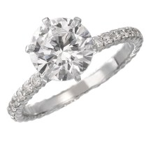 Solitaire Diamond Engagement Rings With Diamond Bands Diamond