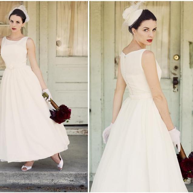 White Wedding Dress, White Birdcage Veil, Crimson Lips And Bouquet