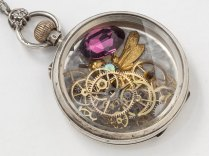 Vintage Sterling Silver Locket Pocket Watch Case Necklace With