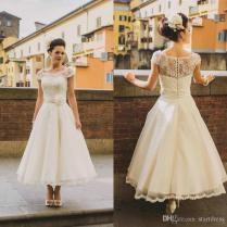 Discount Vintage Tea Length Wedding Dress Boho Ivory Cap Sleeve