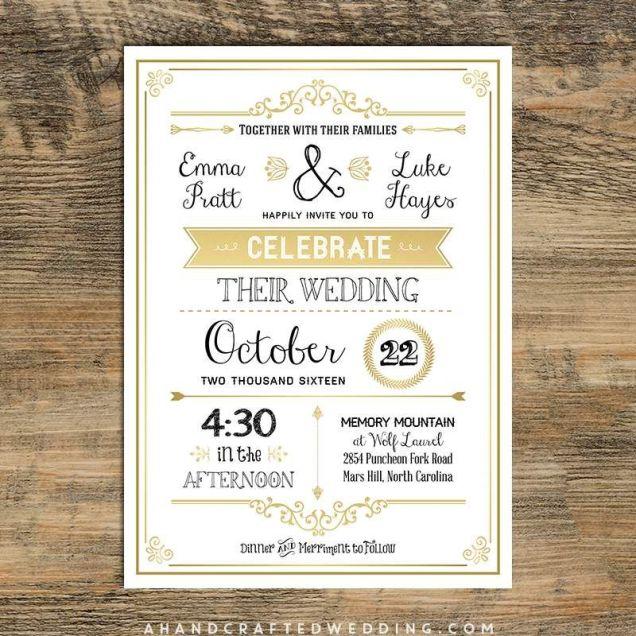 Vintage Wedding Invitation Templates Printable Vintage Wedding