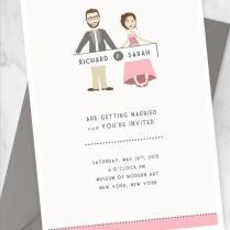 Wedding Invitation Kit With Custom Couple Illustration Portrait
