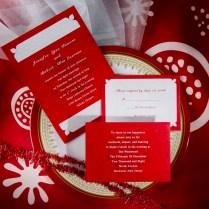 White Wedding Invitation Kit White And Red Damask Online Wedding