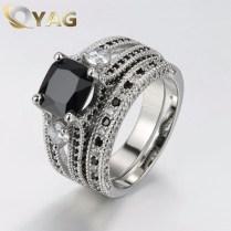 Women's Vintage Double Wedding Rings Geometric Design Wiht Big