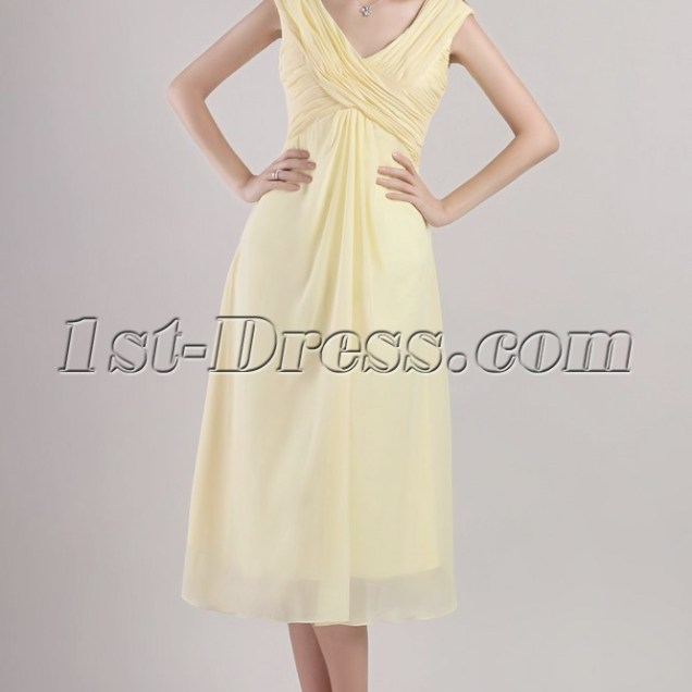 Yellow Tea Length Mother Of The Groom Dresses 2357 1st