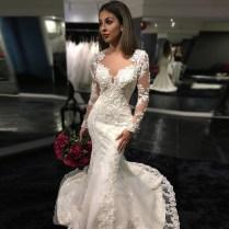 Glamorous Mermaid Long Lace Wedding Dress