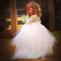 Newest Long Sleeve Tulle Flower Girl Dress With Lace