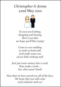 Money Instead Of Wedding Gifts Poem