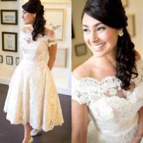 Discount 1950s Vintage Wedding Dresses Off Shoulder Short Sleeve