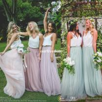 2017 New Country Wedding Boho Bridesmaid Dresses Blush Tulle V