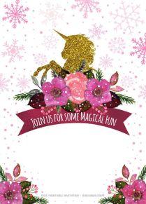 Free Printable Golden Unicorn Birthday Invitation