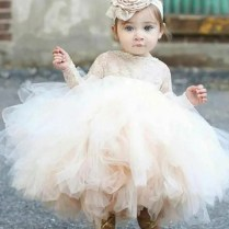 Ball Gown Bateau Long Sleeves Short Tulle Flower Girl Dress With