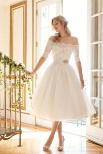 Off Shoulder Sleeves Short Wedding Dress Bridal Gown Custom Size 6