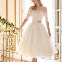 Off Shoulder Sleeves Short Wedding Dress Bridal Gown Custom Size 6