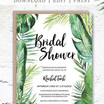 This Tropical Bridal Shower Invitation Is A Diy Editable Template