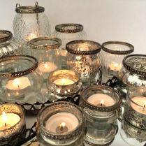 Antique Style Glass & Metal Vintage Tea Light Candle Holder