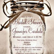 Country Mason Jar Rustic Bridal Shower Invitations