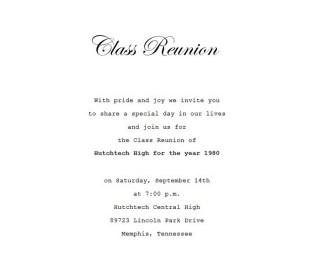 Class Reunion Invitation 4 Wording