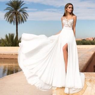 Forward Flying Beach Wedding Dress Light Chiffon Skirt And Flirty