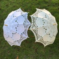 Free Shipping New Vintage Lace Umbrella Handmade Embroidery White