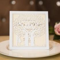 Elegant Love Heart Tree Laser Cut Wedding Invitation Cards