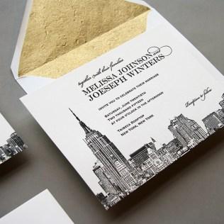 New New York City Skyline Wedding Invitation By Steel Petal Press