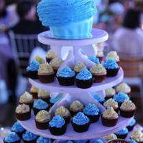 Turquoise And Yellow Wedding Cupcake Tower