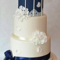 Vintage Navy Birdcage Wedding Cake