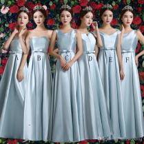 Long Satin Bridesmaid Dress With Bow Lace Up 2017 Pleated Floor