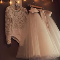 Alencon Lace Leotard And Champagne Ivory Tulle Skirt Long Sleeve