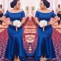 Royal Blue Satin Bridesmaid Dresses Short Sleeves Mermaid Maid Of