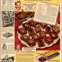 1941 Vintage Food Ad Baker's Chocolate Brownies Recipe 070718