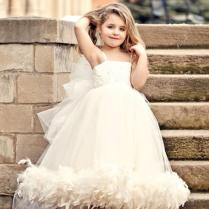 2015 New Lovely Spaghetti Tulle Applique Feather Detachable Big