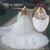 Discount 2017 Luxury Princess Ball Gown Wedding Dresses Vestido De