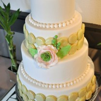 Elegant Wedding Cake With French Macaron And Pink Flower