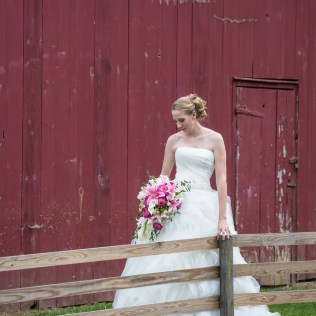 Bride In Front Of Red Barn